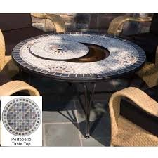 alfresco home portobello outdoor lounge table with fire pit and beverage center 30 inch round
