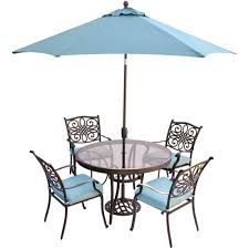 hanover traditions 5 piece aluminum outdoor dining set with round glass top table