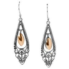 shipton and co las shipton and co silver filigree frame drop earrings with a central gold