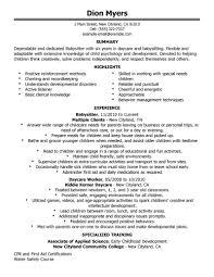 Cover Letter Resume Sample For Nanny Sample Resume For Nanny