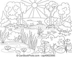 cartoon coloring book black and white nature glade in the forest with plants