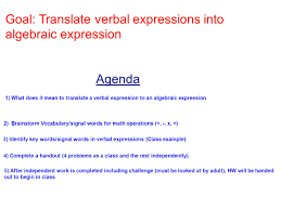 x 4 8 constantvariable operation equation constant ppt writing verbal expressions in math 2 agenda