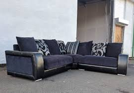 black leather fabric corner sofa delivery available