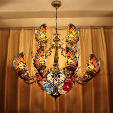 stained glass chandelier creative led pendant light lamp living room erfly