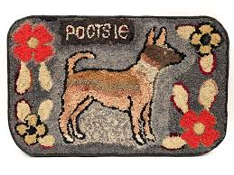 19th century antique american folk art shirred rug of dog named pootsie