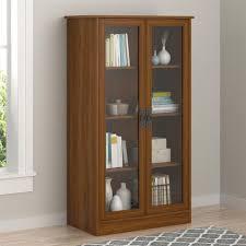 media storage bookcase tower display cabinet glass door shelf adjustable books for