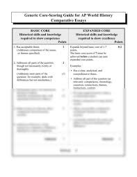 comparative generic rubric pdf at leavenworth sr high school  þy generic core scoring guide for ap world history comparative essays basic core historical skills and knowledge required to show competence points expanded