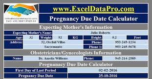Download Pregnancy Due Date Calculator Excel Template