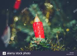 Artificial Christmas Tree Candle Lights Close Up Of Artificial Candle On Christmas Tree Stock Photo