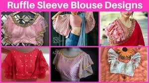 Latest Frill Blouse Design Ruffle Sleeve Saree Blouse Designs Bell Sleeves Blouse For Saree Frill Saree Blouse