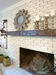 rustic glam painted brick fireplace with rustic wood mantel