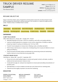 Truck Driver Transportation Executive Resume Template Best Example