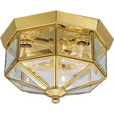 brass lighting fixtures. Progress Lighting P5788-10 Octagonal Close-To-Ceiling Fixture With Clear Bound Beveled Glass, Polished Brass - Amazon.com Fixtures S