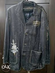 ed hardy leather men s jacket original