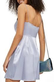 Light Blue Satin Cowl Neck Dress Cowl Neck Satin Mini Slipdress Topshop Light Blue 35s05nlbl