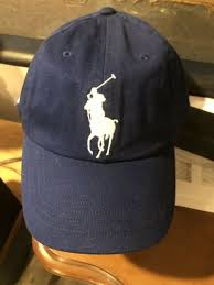 ralph lauren polo big pony script royal blue dad hat cap leather strap back nwt