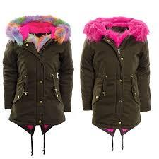 girls parka jacket multi coloured pink faux fur trim back to school coat jacket