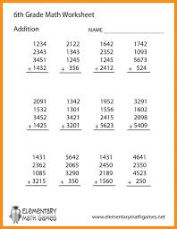 6th Grade Math Worksheets Free 5th Fifth Area And Fractions Order ...