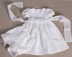 Baby girl baptism linen dress bloomers baby special occasion white dress  wedding party flower dress girl