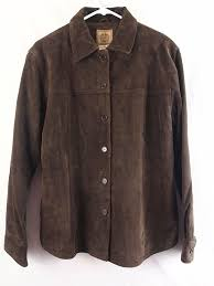 details about a m i ami brown suede leather jacket coat on front women s l large