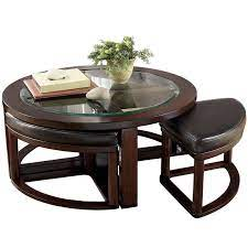 wide round glass and wood coffee table