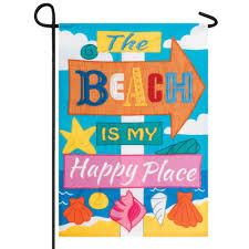the beach is my happy place garden flag