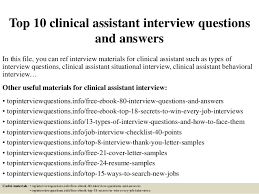 Clinical Assistant Jobs Top 10 Clinical Assistant Interview Questions And Answers