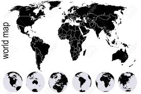 Black World Map With Set Of Earth Globes Royalty Free Cliparts