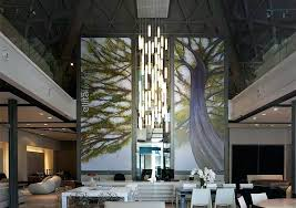 high ceiling chandelier tall entry lobby modern lighting for foyer ideas
