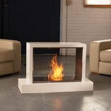 portable modern corner ventless gas fireplace