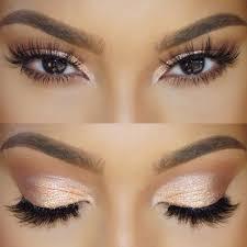 cute brown eyes makeup almond makeup in golden orange