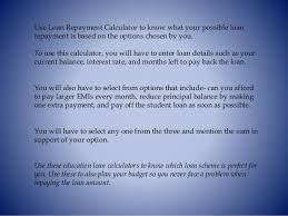 pay back loans calculator education loan calculator