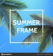 青い空を背景に白い正方形夏の手のひらでフレームを残しますポスター