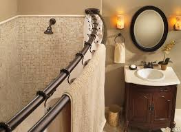 small shower stall curved shower curtain rod