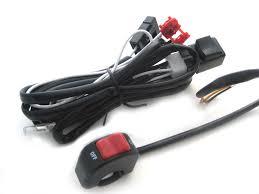 complete spot light fog light motorbike wiring loom harness kit image 1