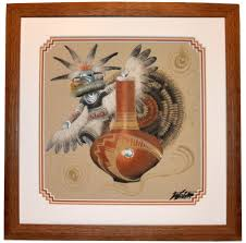 this is a large sand painting by the famous navajo indian michael watchman of new mexico sand paintings have been used by the medicine man of the tribe to