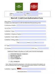 Credit Consent Form Free Marriott Credit Card Authorization Form Pdf