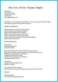 Delivery Driver Job Description Resume Resume