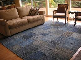 blue overdyed patchwork rug in livingroom