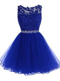Navy Blue Beading Lace Short Prom Dress
