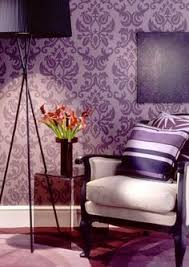 Damask Wall for the bakery. (one wall) I love this purple color. Purple  WallpaperDamask WallpaperWallpaper Feature ...