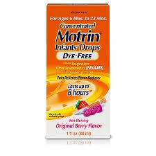 Infants Motrin Ibuprofen Oral Suspension Concentrated Drops Dye Free Drops Original Berry