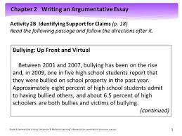 Argumentative essay on bullying in schools
