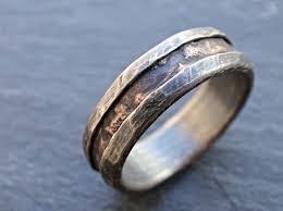 alternative to wedding ring. custom made cool mens ring, alternative wedding band rugged, wood grain ring bronze to