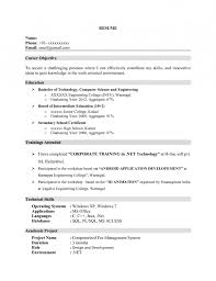 Resume For Science Freshers Computer Science Engineering Resumes For  Freshers Good Resume Resume Example
