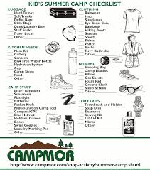 Kid's Summer Camp Checklist | Camping, Camping checklist and ...