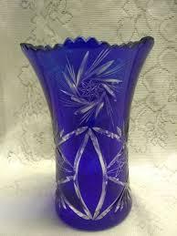 bohemian glass cobalt blue cut to clear vase sawtooth edge