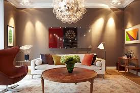 Wonderful ... Ideas Decorating Living Room Inspiring Design Brown Round Wooden Coffee  Table White Fabric Sofa Cushions Hanging ... Nice Look
