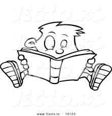 vector of a cartoon enthralled boy reading a book outlined coloring page drawing