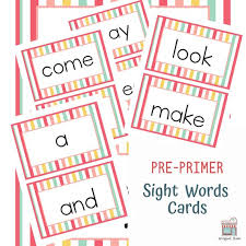 Pre Primer Sight Words Flashcards Perfect For Pre K And Kindergarten Students